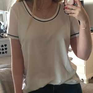 White blouse with black details
